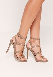 Missguided Dome Studded Gladiator Heels Brown Taupe