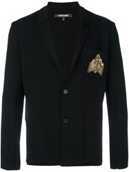 Roberto Cavalli Embellished Badge Blazer Black