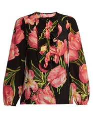 Dolce And Gabbana Tulip Print Silk Crepe De Chine Blouse Pink Multi