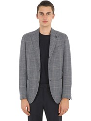 Lardini Checked Wool Silk And Linen Jacket Blue