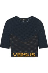 Versus By Versace Cropped Pointelle Knit Top Midnight Blue
