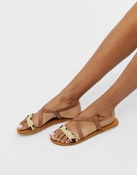 Warehouse Leather Cross Over Sandals In Tan Multi