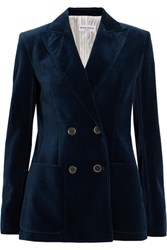 Sonia Rykiel Faux Leather Trimmed Double Breasted Cotton Velvet Blazer Midnight Blue