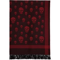 Alexander Mcqueen Red And Black Skull Scarf