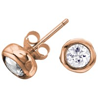 Dower And Hall 18Ct Vermeil Topaz Stud Earrings Rose Gold