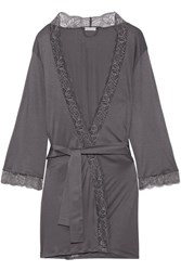 Hanro Ginevra Lace Trimmed Modal Jersey Robe Anthracite