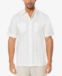 Cubavera Men's Linen Blend Pintucked Shirt Bright White