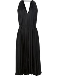Tome Satin Pleated Halter Dress Black