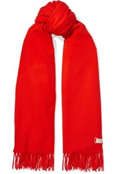 Rag And Bone Fringed Wool Scarf Tomato Red