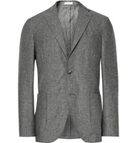 Boglioli Grey K Jacket Slim Fit Slub Silk And Linen Blend Blazer Gray