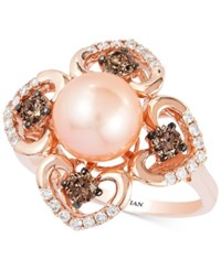 Le Vian Chocolatier Pink Freshwater Pearl 8Mm And Diamond 5 8 Ct. T.W. Flower Ring In 14K Rose Gold