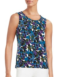 Nipon Boutique Printed Pleated Sleeveless Top Grape Multi