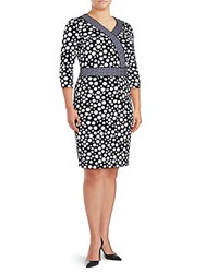 Basler Plus Size Patte Surplice Polka Dot Dress Navy