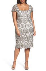 Pisarro Nights Plus Size Women's Lace Tiers Embellished Cocktail Sheath Dress Silver