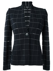 Giorgio Armani Check Woven Jacket Blue