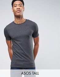 Asos Tall Muscle T Shirt In Charcoal Marl Charcoal Marl Grey