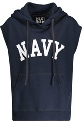 Nlst Navy Cotton Blend Hooded Top Midnight Blue