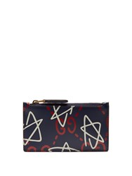 Gucci Ghost Print Leather Wallet Blue Multi