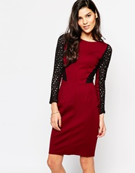Closet Pencil Dress With Lace Sleeves Burgandy