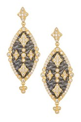 Freida Rothman 14K Gold Plated Sterling Silver Cz Hammered Maltese Marquise Drop Earrings Metallic