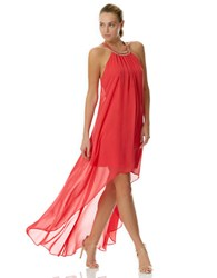Laundry By Shelli Segal Chiffon High Low Necklace Dress Coral Rage