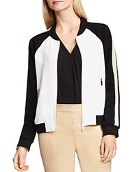 Vince Camuto Color Block Bomber Jacket New Ivory