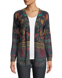 Johnny Was Long Sleeve Printed Cotton Cashmere Cardigan Sweater Multi