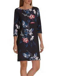 Betty And Co. Floral Print Jersey Dress Dark Blue Blue