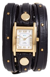 La Mer Women's Collections Studded Leather Wrap Watch 19Mm