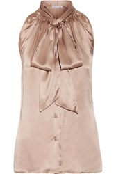 Tomas Maier Pussy Bow Silk Satin Top Beige