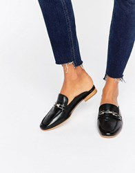 Faith Backless Leather Loafers Black Leather