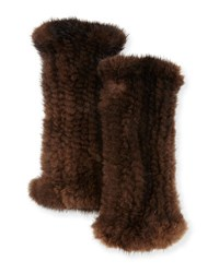 La Fiorentina Fingerless Mink Fur Gloves Brown