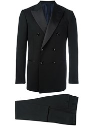 Massimo Piombo Mp Double Breasted Tuxedo Suit Black