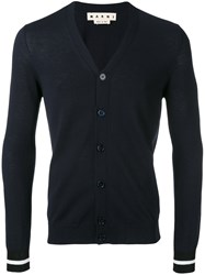 Marni Slim Knitted Cardigan Men Cotton 48 Blue