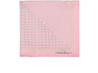 Salvatore Ferragamo Men's Elephant And Flower Print Silk Pocket Square Pink