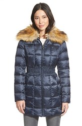 Women's Laundry By Shelli Segal Faux Fur Collar Ruched Waist Down And Feather Fill Coat