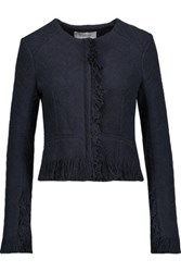 Derek Lam 10 Crosby By Cropped Fringed Cotton Blend Tweed Jacket Midnight Blue