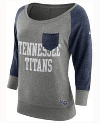Nike Women's Tennessee Titans Vintage Crew Long Sleeve T Shirt Navy Gray