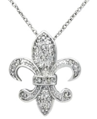 Macy's Diamond Pendant Sterling Silver Diamond Fleur De Lis 1 10 Ct. T.W.
