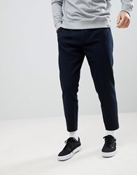 Pull And Bear Pullandbear Relaxed Fit Striped Trousers In Navy Navy Blue