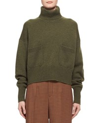 Chloe Cashmere Patch Pocket Turtleneck Sweater Green