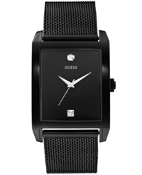 Guess Men's Diamond Accent Black Ion Plated Stainless Steel Mesh Bracelet Watch 41X37mm U0298g1
