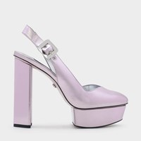 Charles And Keith Leather Slingback Platform Heels Lilac
