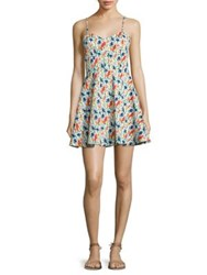Alice Olivia Nella Printed Fit And Flare Dress Bird Party