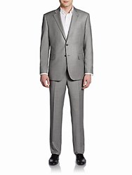 Saks Fifth Avenue Black Classic Fit Wool Sharkskin Two Button Suit Light Grey