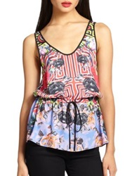Clover Canyon Floral Maze Printed Drawstring Waist Tank Multi