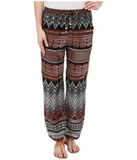 Dylan By True Grit Boho Batik Pants Brown Khaki Black Women's Casual Pants Multi