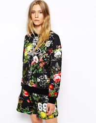 Vivienne Westwood Anglomania Baggy Oversized Sweatshirt With Orb Logo And Floral Print Black