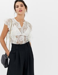 Closet Lace Frill Detail V Neck Top White