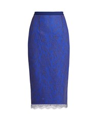 Emilio De La Morena Ellen Lace Overlay Pencil Skirt Blue